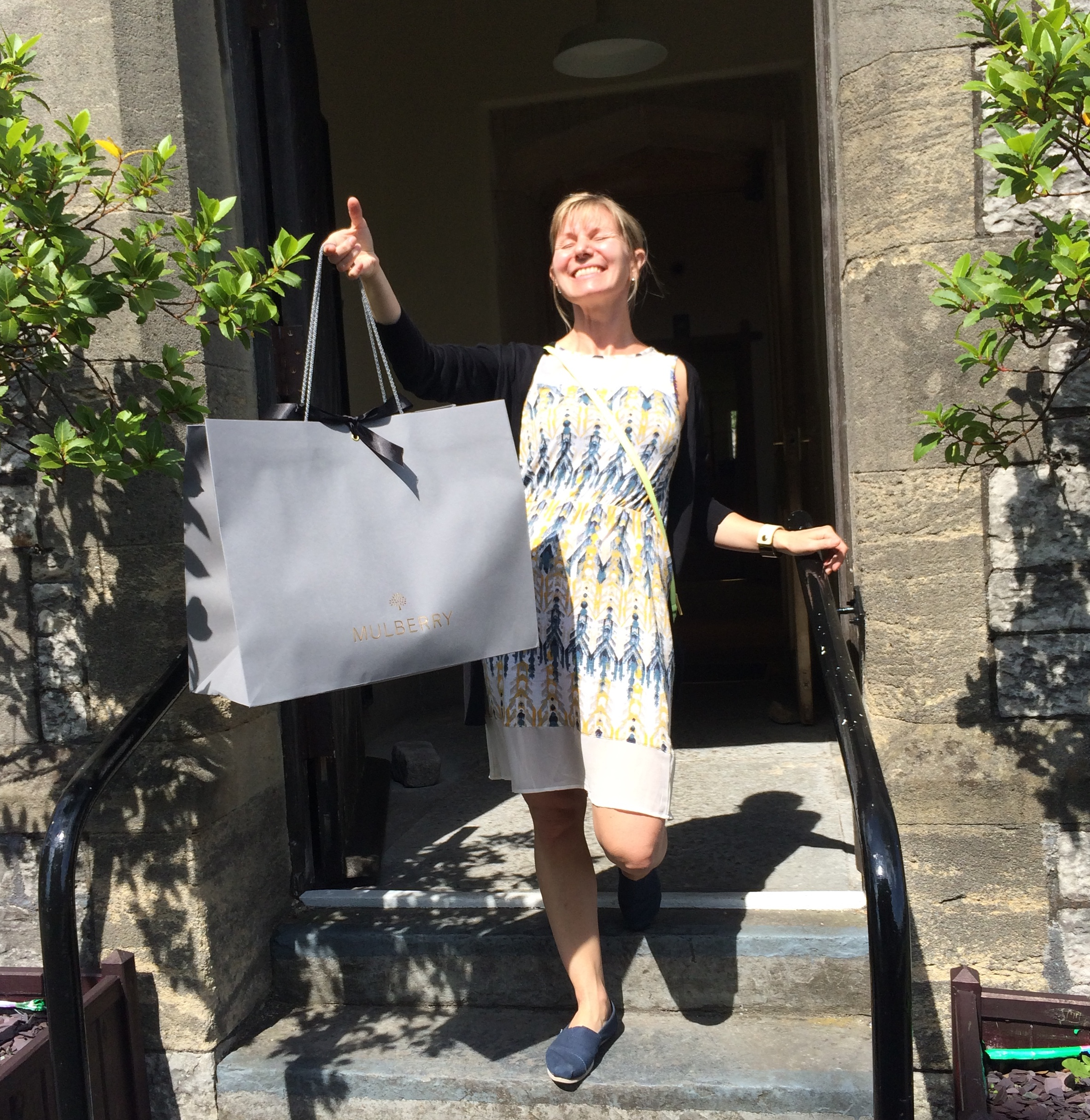 WDG looking very happy outside the Mulberry Factory Shop
