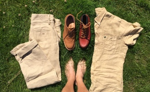 khaki linen and shoes