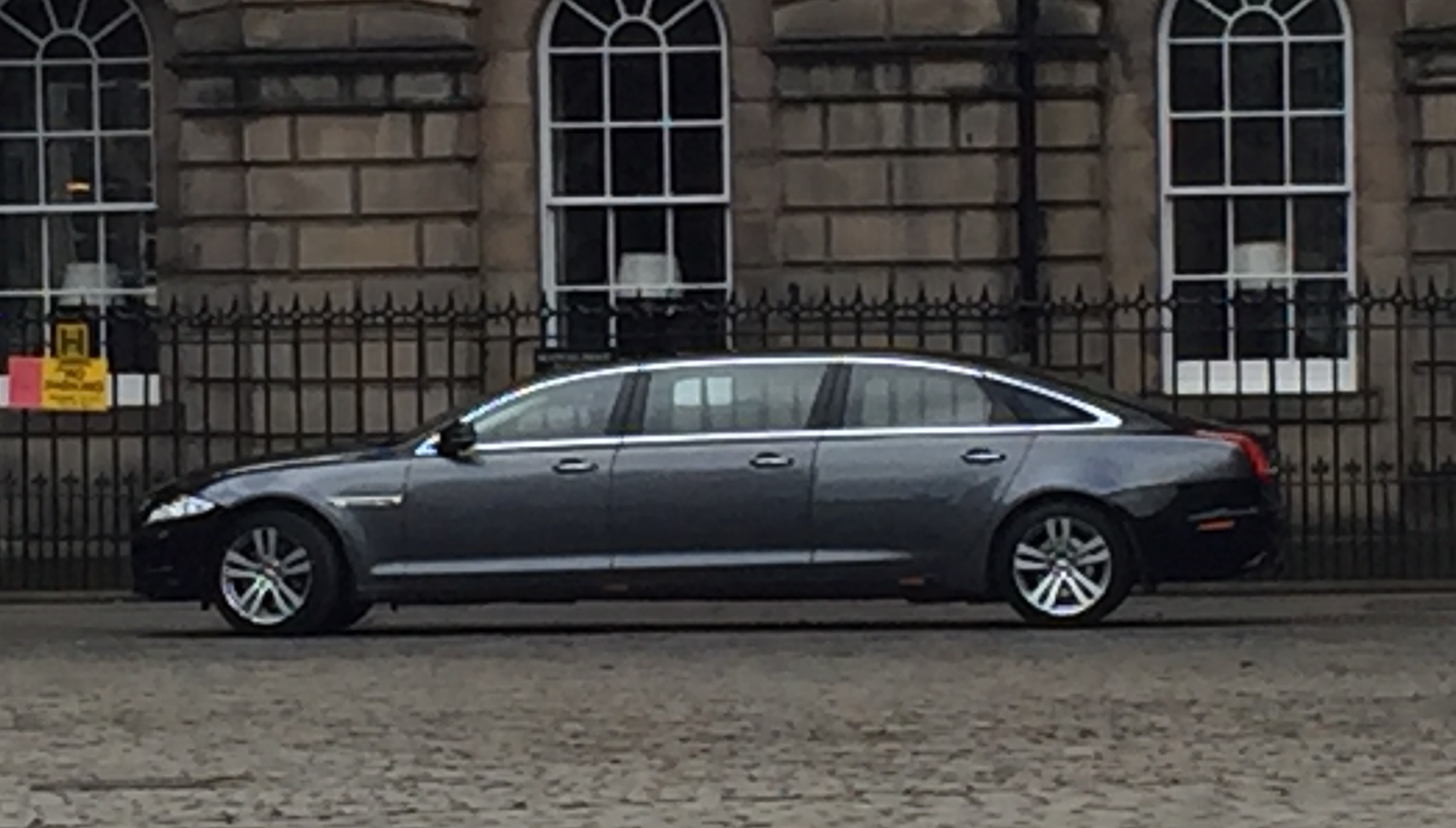 I didn't get a snap of Queen Elizabeth, but this is her stretched Jaguar XJ limo, which was more interesting in any case.